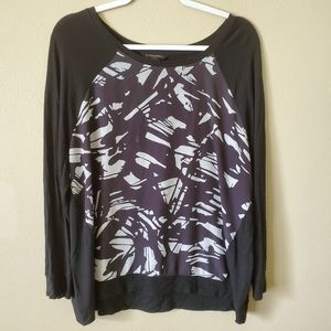 Banana Republic Black Geometric Long Sleeve Top XL